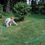 measuring flower bed with hose