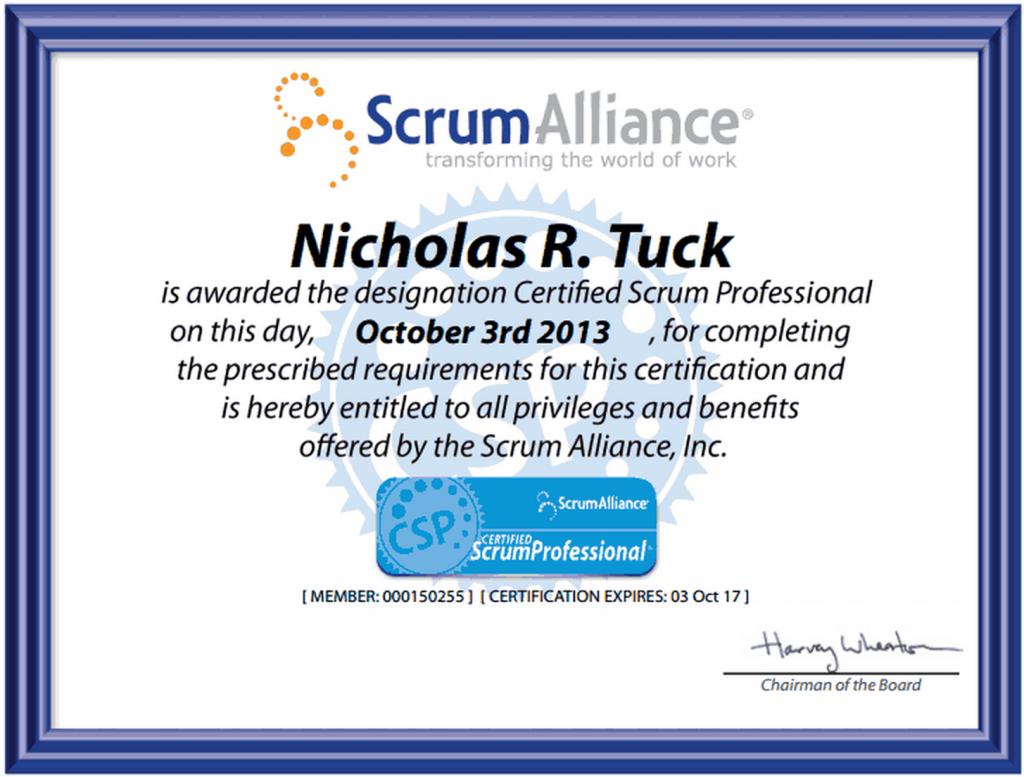 Nicholas Tuck Certified Scrum Professional Certificate